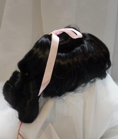 """10/11"""" Ringlets Ponytail Black Doll Wig Reborn OOAK BJD Bisque Repair RENEE"""