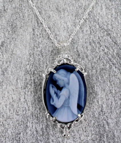 Blue Agate Cameo Necklace - Angel -Sterling Silver - Carved in Germany