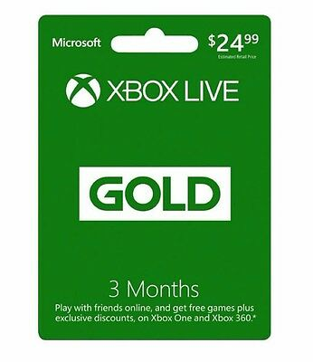 Microsoft Xbox Live 3 Month Gold Membership For Xbox 360   Xbox One
