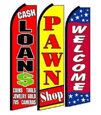 Cash Loans Pawn Shop Welcome King Size Swooper Flag Pack Of 3