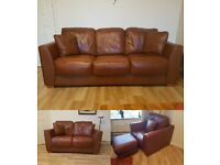 THREE PIECE SUITE BROWN TAN LEATHER - 2 SOFAS 1 CHAIR + POUFFE