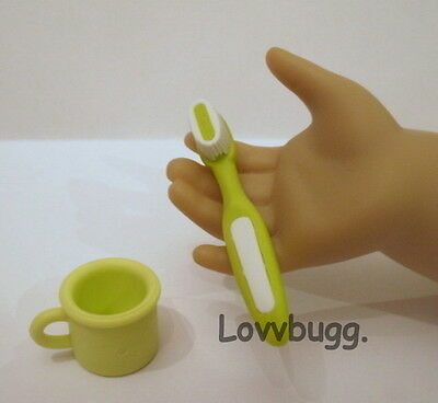"Lovvbugg Green Toothbrush Set Clothes Accessory for 18"" American Girl Doll Accessory"