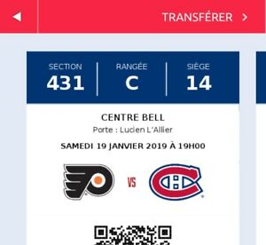 Tickets Canadiens vs Flyers - samedi 19 janv.
