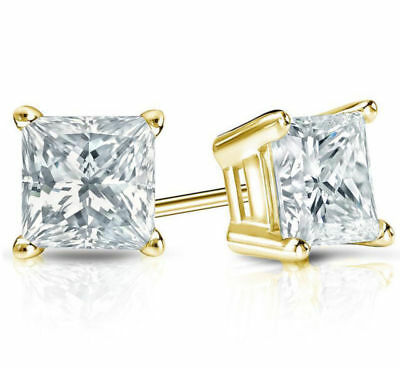 6MM Princess Cut Square Stud Earrings 14k Gold Excellent Cut VVS1 Mother's Day ()