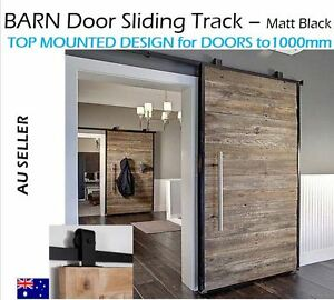 BLACK-Sliding-Barn-Door-Hardware-with-Top-mounted-Rollers ...