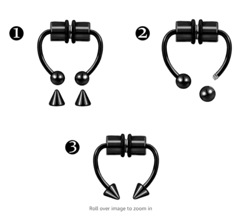 Magnetic Non-Piercing  Nose Rings Fake Septum Segment Helix Club Clickers Punk Body Jewelry