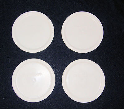 4 NEW Corning French White LIDS F-16 fit FW 16 Oz Round Bowls Replacement Covers