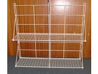 Large White Wall Mounted Hinged Wire Shelving Unit.