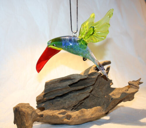 Art Blown Glass Hanging Figurine Ornament Bird Toucan