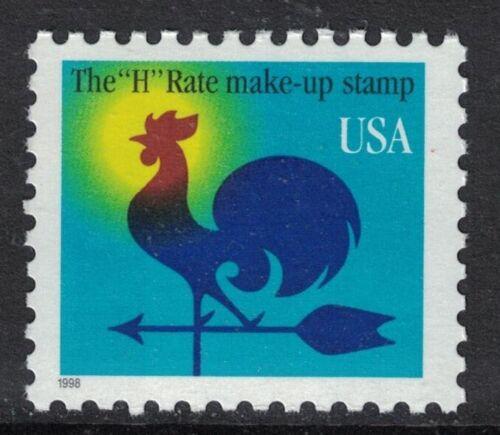 "Scott 3257- ""H"" Rate Make Up Stamp, Rooster Weathervane- MNH 1c 1998- mint"