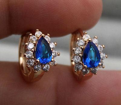 (18K Yellow Gold Filled - Flower Waterdrop Navy Blue Topaz Zircon Party Earrings)