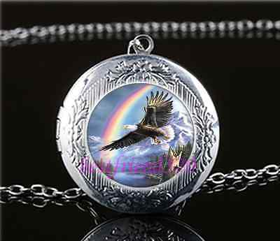 Eagle Glass Pendant - Eagle With Rainbow Cabochon Glass Tibet Silver Locket Pendant Necklace