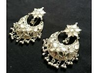 Gorgeous Pair of Silver Kundan Earrings. Pure Sterling Silver