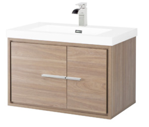 "Wall-Hung Vanity Sink 30"" wide Walnut colour NEW"