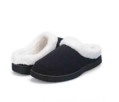 MOXO Mens Coral Fleece Slippers Black UK 8-9 EU 42-43 LN180 AA 04