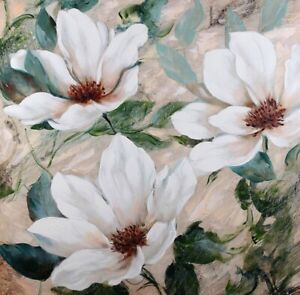 WHITE FLOWERS Floral Painting Print Canvas Wall Art Artwork 100X100cm Camp Hill Brisbane South East Preview