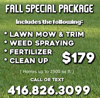 WEED CONTROL , LAWN CARE , SEEDING & SODDING, FALL CLEANING