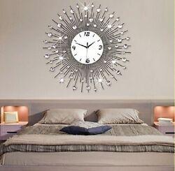 Contemporary Sunshine Style Metal Wall Clock Battery Powered Quartz HOT