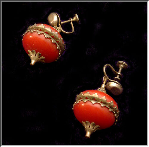 Gorgeous Vtg Deco Red Celluloid & Brass Drop Dangle Holiday Ornament Earrings