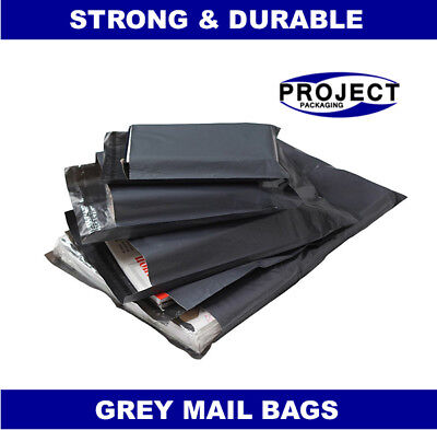 200 BAGS 6x9 INCH STRONG POLY MAILING POSTAGE POSTAL QUALITY SELF SEAL GREY 60MU