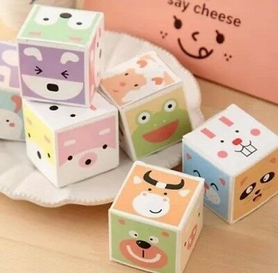 Lot 6 Boxes Animal Message Memo Pad Cube Notepad Korean Stationery Yoofun Cute