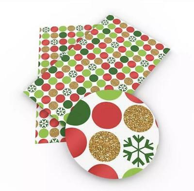Red green and gold polka dot Christmas faux leather sheet fabric full-1/2 - Red And Green Christmas