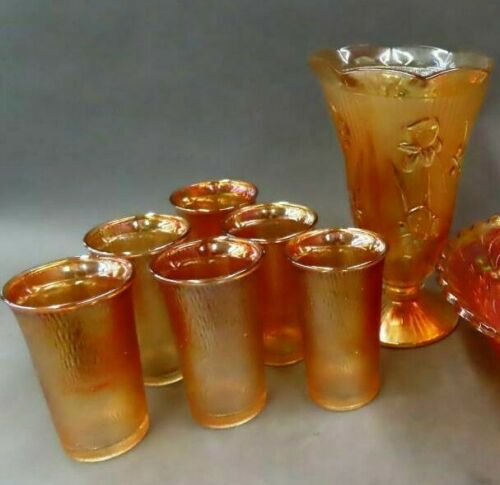 Set of 6 Marigold Tree Bark Carnival Glass Tumblers AND Marigold Iris Vase