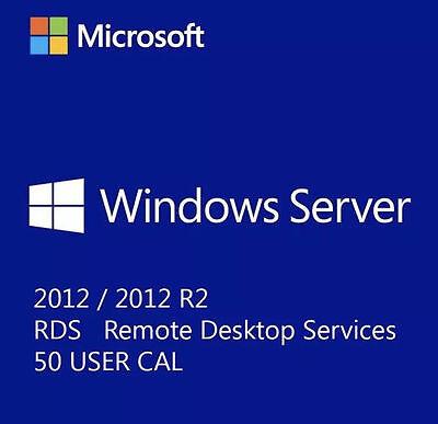 New Msft Window Server 2012 R2  Rds For 50 User Dev Cal Remote Desktop Servcs