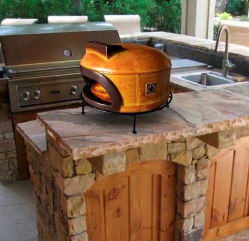 Outdoor Clay Pizza Oven Wood Fired Burning with Pizza Stones & Stand Fireplace