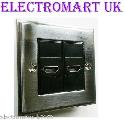 HDMI DOUBLE STEEL WALL PLATE SOCKET BRUSHED CHROME NO SOLDERING REQUIRED ()