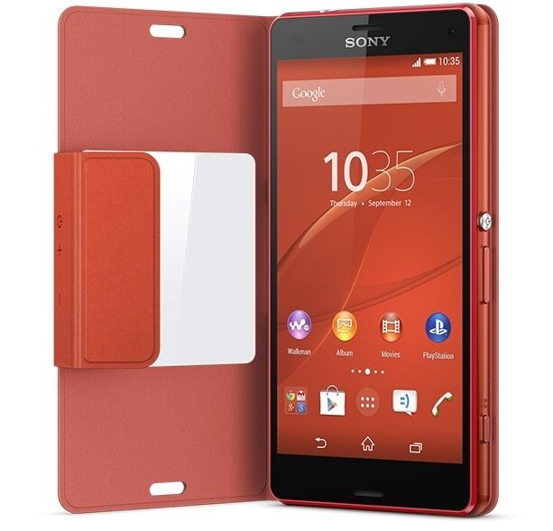 GENUINE SONY XPERIA Z3 COMPACT SCR26 STYLE COVER WINDOW VIEW CASE | ORANGE