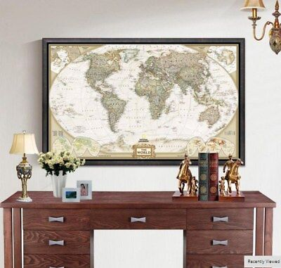 Large Vintage World Map Detailed Antique Poster Wall Retro 28*18 inch 5%OFF
