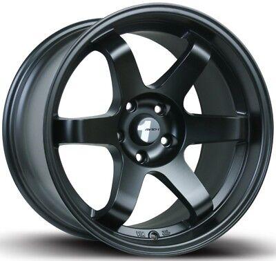 Avid1 AV06 18X8.5 Rims 5x114.3 +35 Black Wheels New Set Volk Style (4)