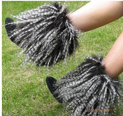 Fashion Boot Cuff Fluffy Soft Furry Faux Fur Leg Warmers black&white  - White Fur Leg Warmers