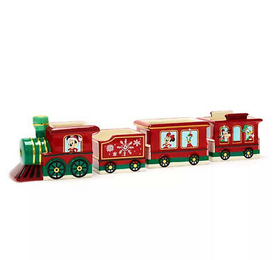 NEW Disney Store Exclusive Christmas Train Ceramic Bowl Set of 4 Mickey Mouse