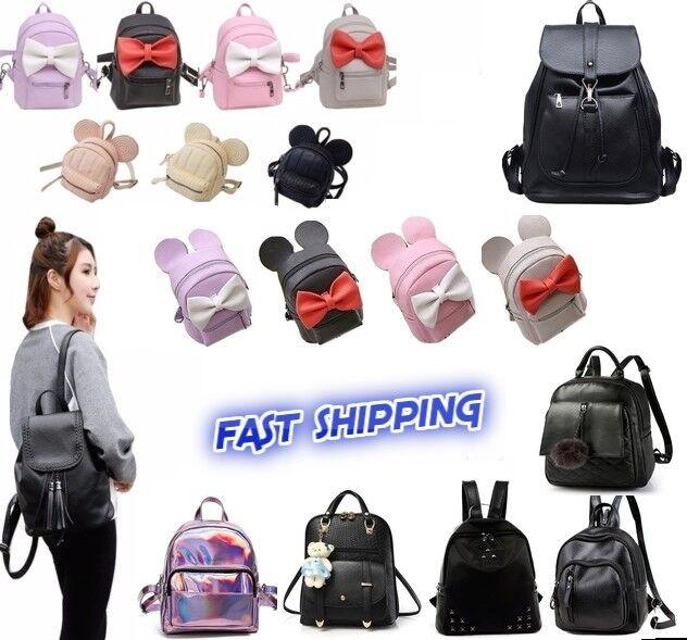 Women Girls Leather Nylon Convertible Slight Mini Backpack Shoulder Chest bag