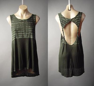 Forest Green Tie-Dye Goa Fairy Twist Open Back Long Tank Top 188 mv Shirt S M (Fairy Tank Top Shirt)