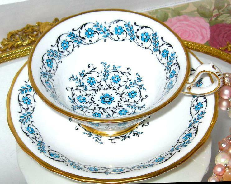 Royal Chelsea HAND PAINTED TURQUOISE FLORAL GOLD Wide Tea Cup and Saucer