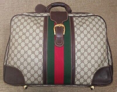 """Vintage Gucci 20"""" Suitcase - Signature GG Canvas & Brown Leather"""