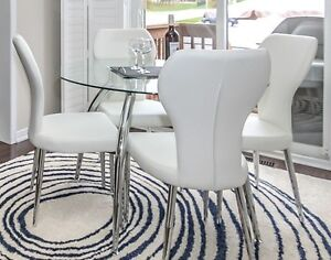 Leather, Chrome and Glass Dining Set (brand new!)