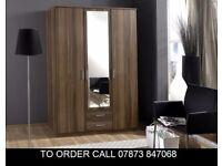 Oscar 3 Door Wardrobe also in 4 door in White and Walnut