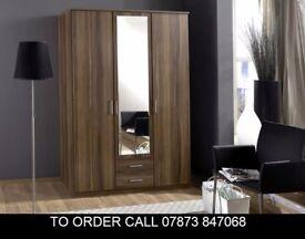 bds Osscar 3 Door Wardrobe also in 4 door in White and ac Walnut