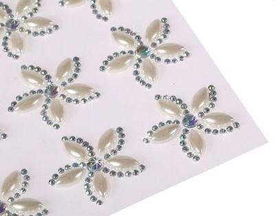 Wedding Self Adhesive Pearls - CraftbuddyUS CB054P 12 X 25mm Self Adhesive Diamante Pearl Flower Gems Wedding