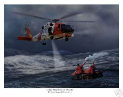 Uscg Hh60  Jayhawk  Helicopter Aviation Art Print