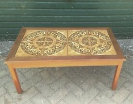 Vintage 60s 70s Danish teak tile top coffee table mid century retro
