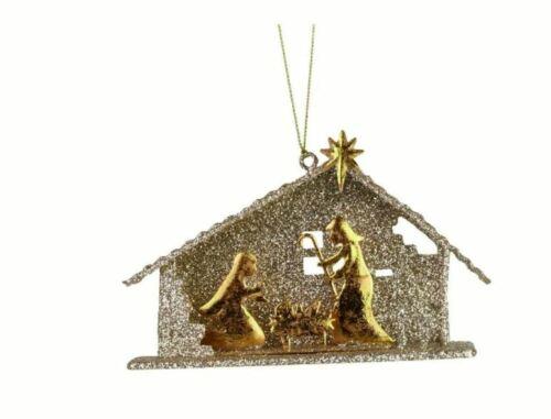 """3"""" Enesco Gold Holy Family Nativity Mary Joseph Jesus Creche Christmas Ornament"""