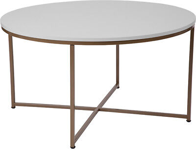 Laminate Coffee Table - Contemporary Round Design White Laminate Top Coffee Table with Matte Gold Frame