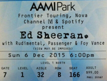 1 x Ed Sheeran concert ticket - B Reserve seating (hard copy ticket) Burwood Whitehorse Area Preview