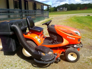 "Kubota GR2120 54"" lawn mower, bagger and front mount snowblower"