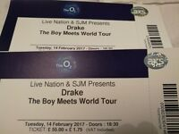 2 Drake Boy Meets World Tour Tickets - London O2 14 February 2017 Valentines Night - £100!!